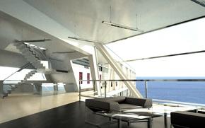 Картинка дизайн, стиль, океан, вилла, интерьер, жилое пространство