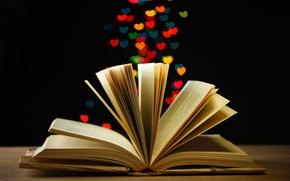 Картинка огни, фон, обои, настроения, книга, wallpaper, книжка, широкоформатные, страницы, background, боке, полноэкранные, HD wallpapers, широкоэкранные