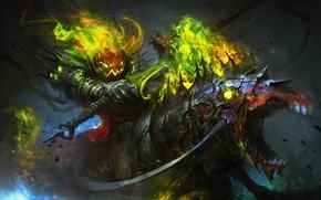 Картинка тьма, праздник, магия, лошадь, меч, тыква, halloween, Lord Pumpkinton
