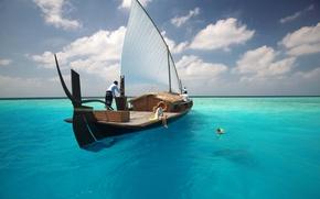 Картинка вода, океан, отдых, лодка, отпуск, семья, купание, девочка