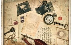 Картинка ретро, перо, часы, фотографии, строки, ключи, vintage, винтаж, открытки