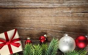 Картинка украшения, ветки, подарок, шары, елка, Новый Год, Рождество, Christmas, wood, decoration, Merry