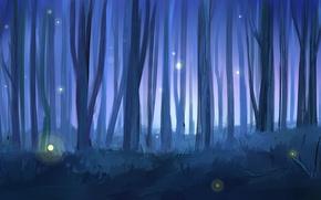 Обои арт, нарисованный пейзаж, лес, деревья