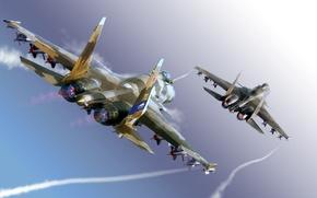 Картинка небо, самолет, истребитель, ракеты, Sukhoi, многоцелевой, сверхманевренный, su-37, су-37, Flanker-F