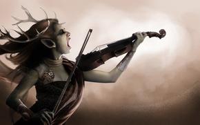 Картинка скрипка, монстр, существо, мистика, рога, Демон, крик