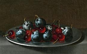 Картинка картина, натюрморт, Хуан ван дер Амен и Леон, Блюдо со Сливами и Вишней
