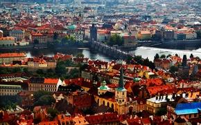 Картинка река, башня, дома, Прага, Чехия, панорама, Карлов мост