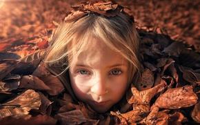 Картинка взгляд, листья, солнце, девочка