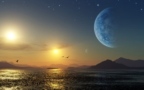 Картинка море, планета, Космос