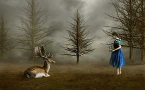 Обои природа, олень, девочка