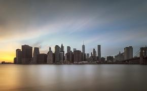 Картинка город, sunset, Manhattan