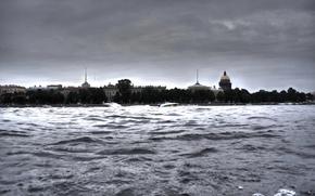 Картинка волны, вода, река, Санкт-Петербург, собор, Нева, Исаакиевский, HDR. шпили