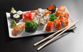 Обои морепродукты, палочки, суши, тарелка, роллы