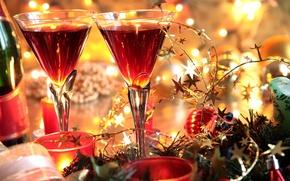 Картинка украшения, яркий, праздник, новый год, бокалы, holidays, celebration, New year
