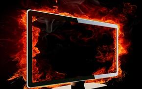 Картинка огонь, пламя, Монитор