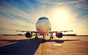 Картинка пассажирский, самолет, асфальт, взлетная полоса, терминал, тень, солнце, небо, аэропорт
