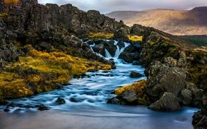 Картинка горы, водопад, речка, Исландия, Iceland