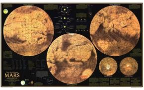 Картинка карта, Марс, полушария, map, Mars