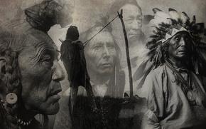 Картинка коллаж, рисунок, черно-белое, индейцы, вожди