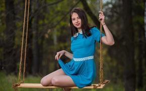 Обои волосы, платье, качели, ножки, Viktoriia Aliko, взгляд