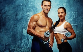 Обои bodybuilding, couple, fitness