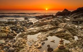 Обои камни, вода, волны, солнце