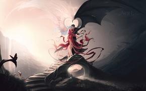 Картинка любовь, мост, белое, рисунок, крылья, меч, ангелы, черное, контраст, нафиг разногласия!