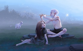 Картинка луна, луг, арт, эльфы, коза, свирель