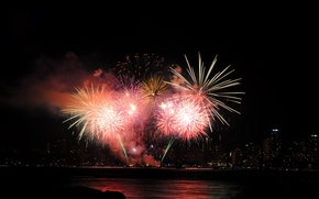 Картинка ночь, огни, праздник, fireworks, Фейерверк