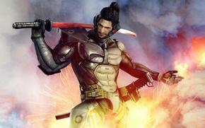 Картинка оружие, катана, доспехи, самурай, солдат