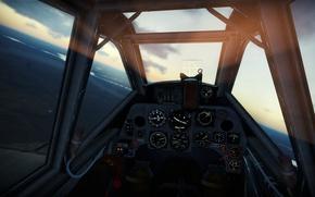 Картинка рассвет, Германия, Messerschmitt, G-2, War Thunder, cockpit, кокпит, 109, trop