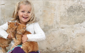 Картинка Girl, smile, cats, kid, other