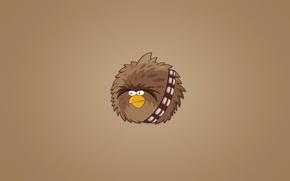 Обои star wars, минимализм, звездные войны, мохнатая, Чуи, Chewey, Chewbacca, чубакка, птица, Angry Birds