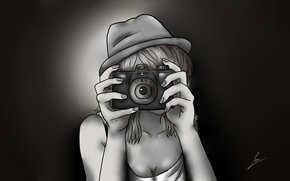 Картинка девушка, рисунок, шляпа, аниме, руки, фотоаппарат, комиксы