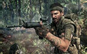 Картинка война, call of duty, винтовка, black ops, экипировка, солдат, тату, джунгли