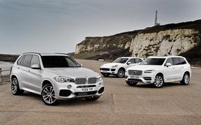 Картинка берег, бмв, Volvo, BMW, XC90, вольво, кроссовер, F15