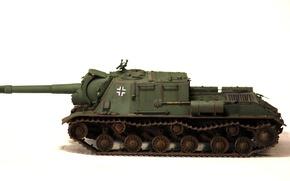Картинка ИСУ-152, игрушка, войск, трофейная, тяжёлая, самоходно-артиллерийская, установка, моделька, немецких