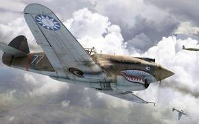 Картинка арт, американский истребитель, roen911, Curtiss-Wright Corporation, Истребительная авиагруппа, American Volunteer Group, Flying Tigers, Республика Китай, …