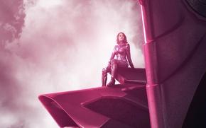 Картинка cinema, wallpaper, girl, robot, sky, woman, pink, cloud, power, movie, hero, film, pose, suit, warrior, …
