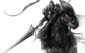 Картинка оружие, конь, рисунок, всадник, красный глаз, монохромный