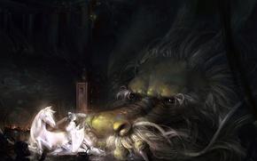 Картинка девушка, дракон, лошадь, аниме, арт, чудовище, a-shacho