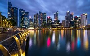 Картинка небо, ночь, мост, огни, пролив, небоскребы, подсветка, Сингапур, синее, набережная, мегаполис, Малайзия, город-государство