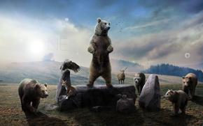 Картинка орел, медведь, лиса, лось