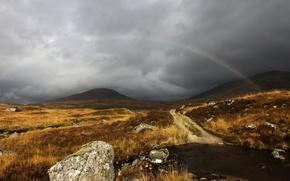Обои радуга, небо, серый, облака, Шотландия