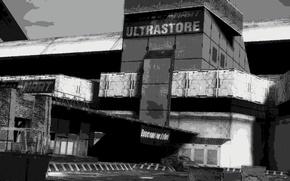 Картинка постапокалипсис, чёрно-белый, sci-fi, супермаркет