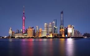 Картинка река, горизонт, Китай, Шанхай, Oriental Pearl Tower, Shanghai Tower, Shanghai World Financial Center, реки Хуанпу