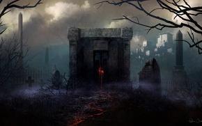 Картинка деревья, красное, след, крест, арт, кладбище, надгробия, love, склеп, мрачность, Christopher Balaskas, клялксы