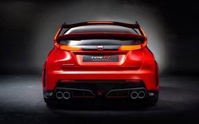 Картинка Orange, Car, Civic, Honda Civic, Type R, Fast