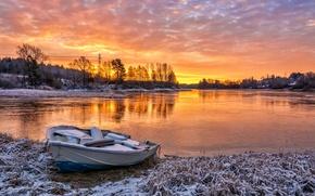 Обои река, лодка, осень, закат