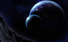 Картинка горы, ночь, планета, ущелье